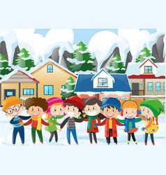 Many children in winter vector