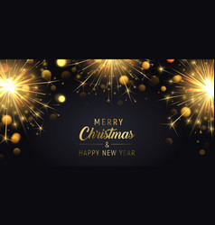 merry christmas background with sparklers vector image