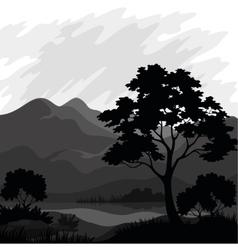 Mountain landscape with tree silhouettes vector image