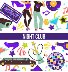 night club dancing party man and woman disco style vector image