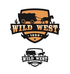 old wild west logo emblem vector image
