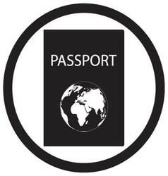 Passport icon black white vector image