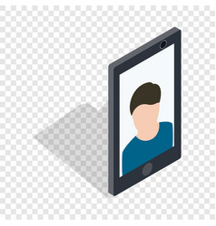 photo of a man on the screen of smartphone icon vector image