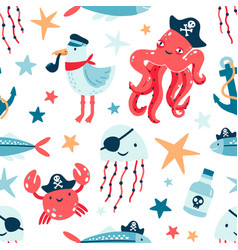 Pirate marine animals flat seamless pattern vector