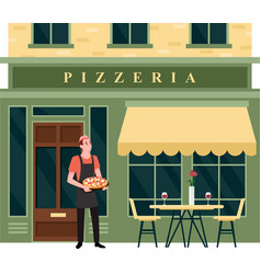 pizzeria city street facade small food business vector image