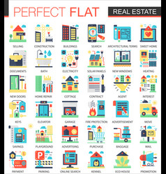 Real estate complex flat icon concept vector