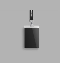 Realistic id lanyard mockup with blank plastic vector