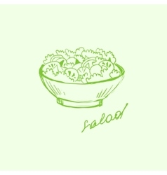 Salad in a bowl handdrawn vector