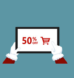 santa claus holding tablet with discount promotion vector image