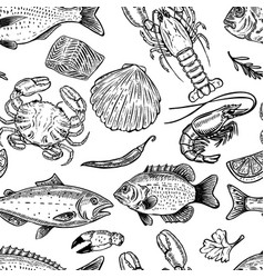 Seafood hand drawn seamless pattern design vector