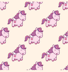 Seamless pattern with pegasus in kawaii japanese vector