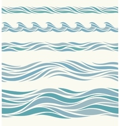 Set seamless pattern with stylized blue waves vector