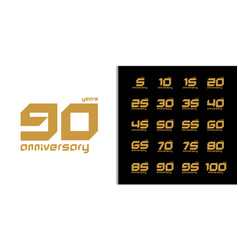 Set trendy anniversary logotype modern vector