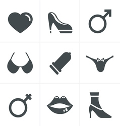Sex And XXX Icons Set Design vector