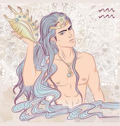 sign aquarius as a man vector image