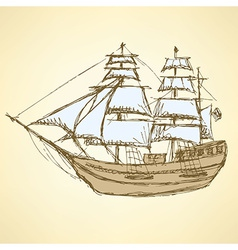 Sketch sea ship in vintage style vector
