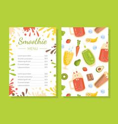 smoothie menu template healthy vitamin drinks vector image