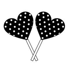 sweet lollipops of chocolate in shape heart vector image