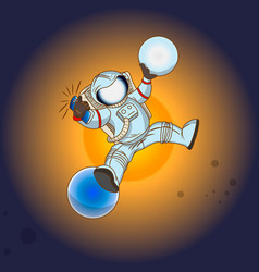 The astronaut in outer space vector