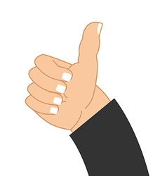 Thumb up hand of businessman Sign well good mood vector