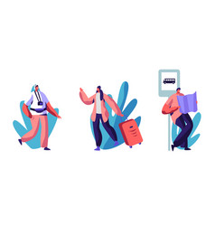 traveling or hiking trip set people with luggage vector image
