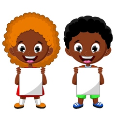 two cute children holding blank sign vector image