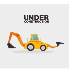 Under construction truck machinery vector