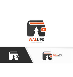 wallet and arrow up logo combination purse vector image