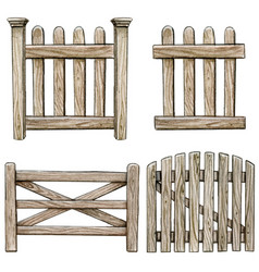 watercolor wooden fence collection vector image
