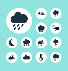 Weather icons set collection of wet cloudy vector