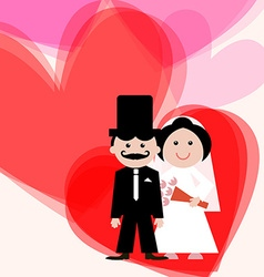 Wedding Greeting Card with Bride - Groom and vector image