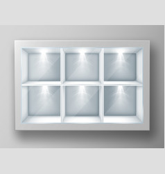 white showcase with square shelves and glass vector image