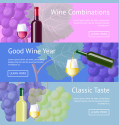 Wine combinations and classic taste promo banners vector