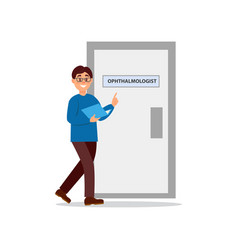 Young man walking at doctor s office door of vector