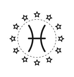 pisces sign of the zodiac flat symbol horoscope vector image