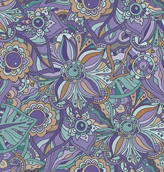 Seamless pattern with Doodle flowers and leaves vector image vector image