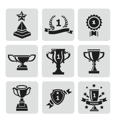 set of black trophy and awards icons vector image