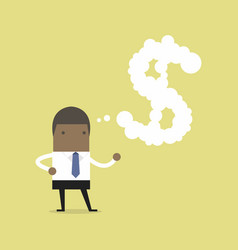 african businessman thinking about money vector image vector image
