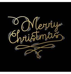 Merry Christmas gold quote greeting card vector image