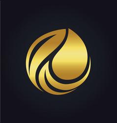 organic bio leaf gold logo vector image vector image