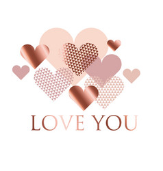 pink and white geometry hearts valentines day vector image vector image
