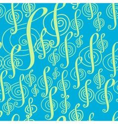 Seamless music pattern with a treble clef vector image