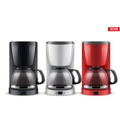 Set of coffee maker with glass pot vector