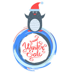 winter sale poster with penguin wearing santa hat vector image