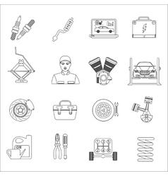 Auto mechanic car repair service thin line icons vector image