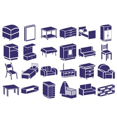 furniture blue icons on white vector image