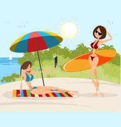 girls on the beach vector image