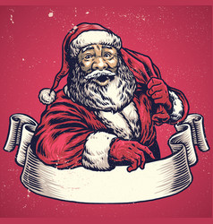 hand drawing of santa claus with text space on vector image