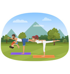 parents with daughter kid does yoga various vector image