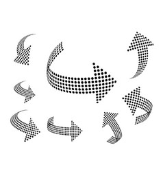 set of arrow icons dotted halftone graphic vector image vector image